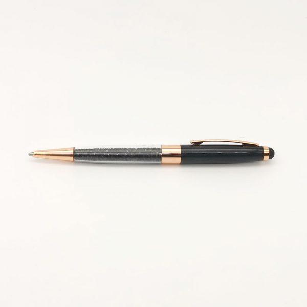 Bolígrafo cristales negros/cobre LZ239