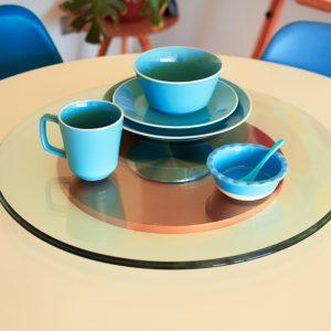 mesa giratoria de cristal templado