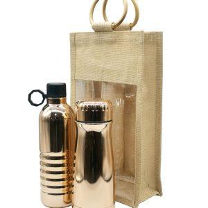 Set termo + botella cobre en arpillera