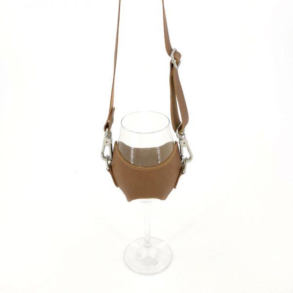 porta copa de vino en cuero